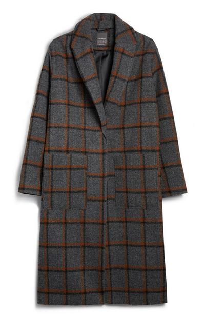 Dark Grey And Orange Check Coat