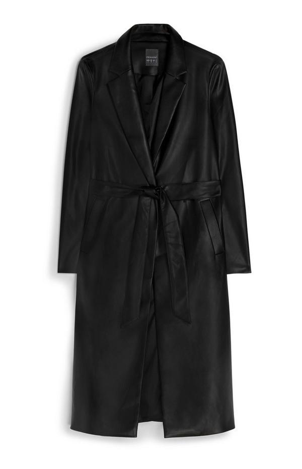 Manteau noir en cuir avec ceinture
