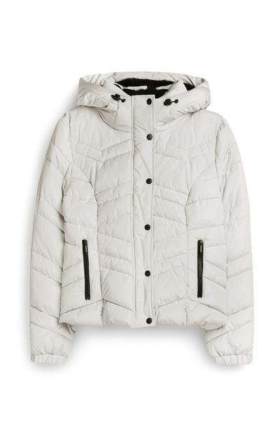 White Short Hooded Jacket