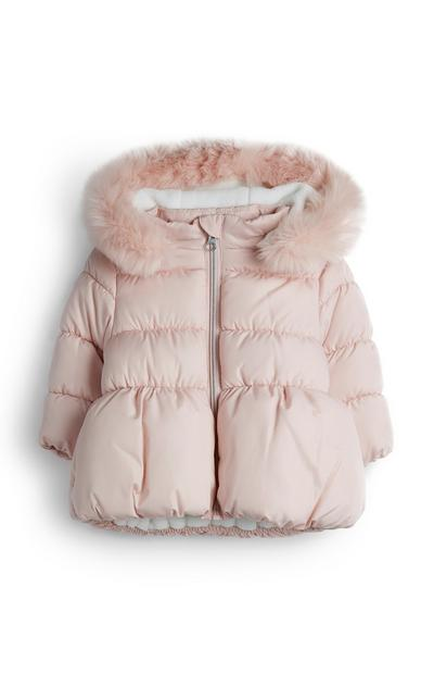 Baby Girl Pink Puffer Jacket With Faux Fur Trim