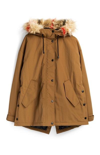Khaki Faux Fur Detail Parka Coat