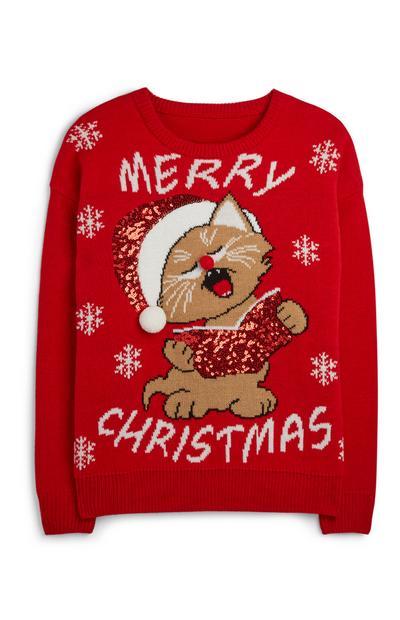 Jersey navideño con gato cantando villancicos