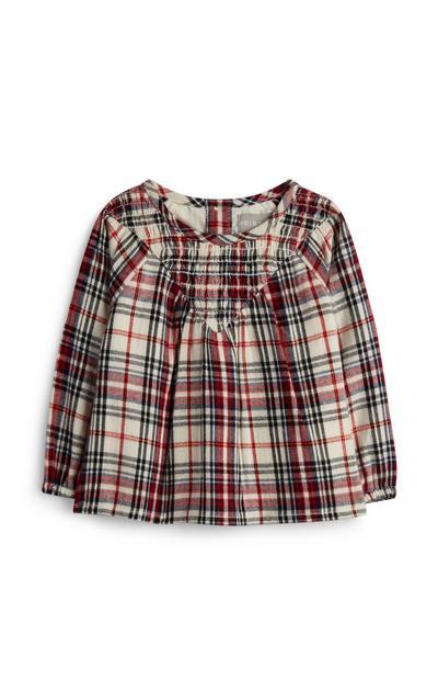 T-shirt franzida padrão tartan menina bebé