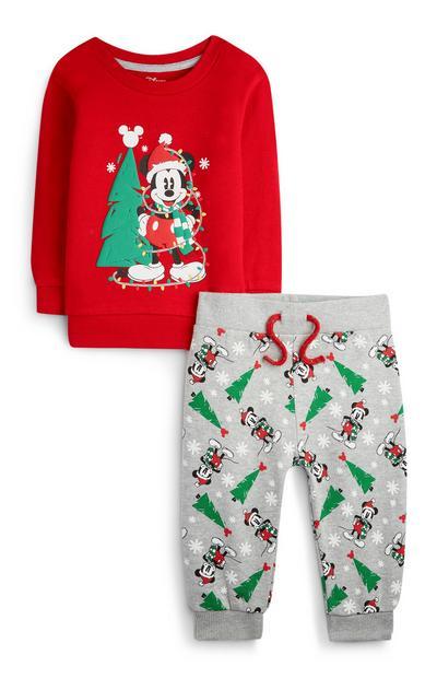 Rode babykersttrui en -joggingbroek Mickey Mouse voor jongens