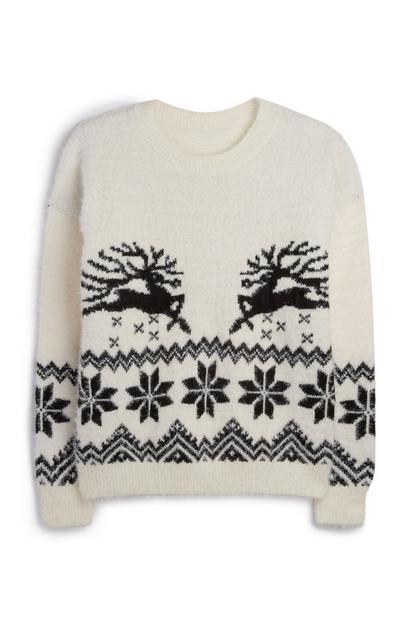 Weißer Weihnachtspullover mit Rentieren