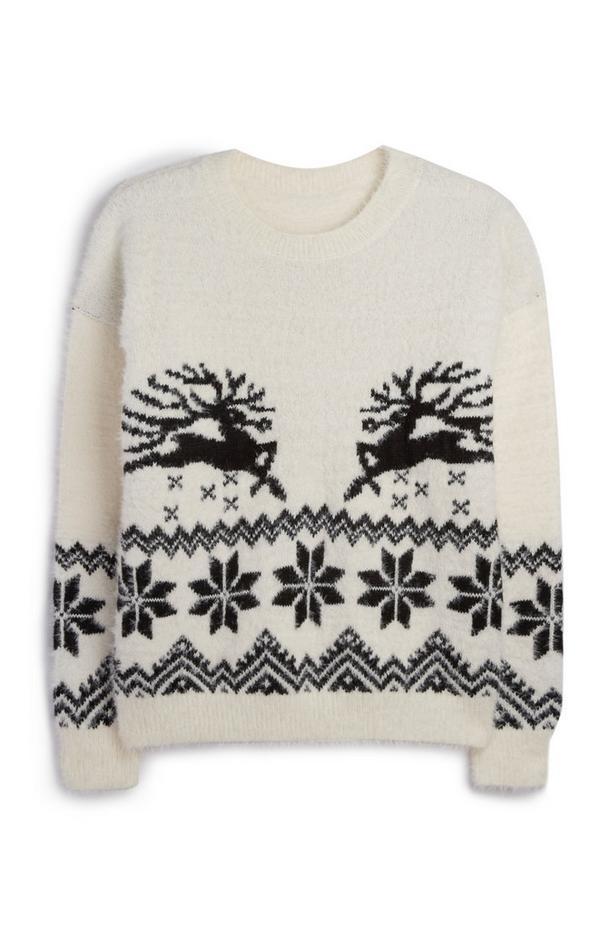 Jersey navideño blanco con reno
