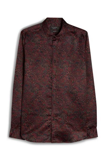 Red Paisley Print Long Sleeve Viscose Shirt