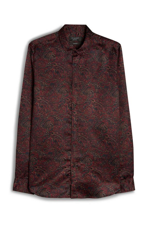 Red Paisley Print Long Sleeve Viscose Shirt