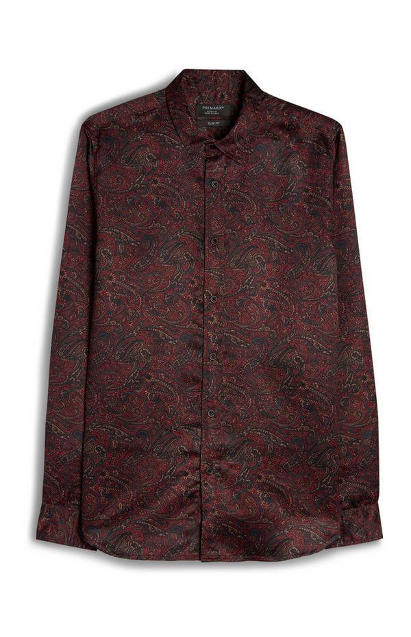 Rdeča srajca z dolgimi rokavi in orientalskim potiskom iz viskoze
