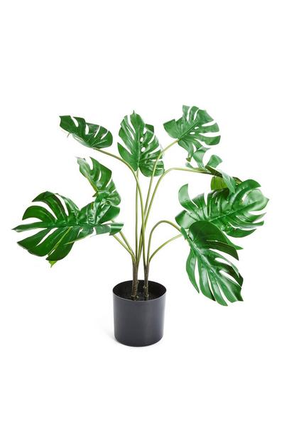 Planta artificial folhas vaso preto
