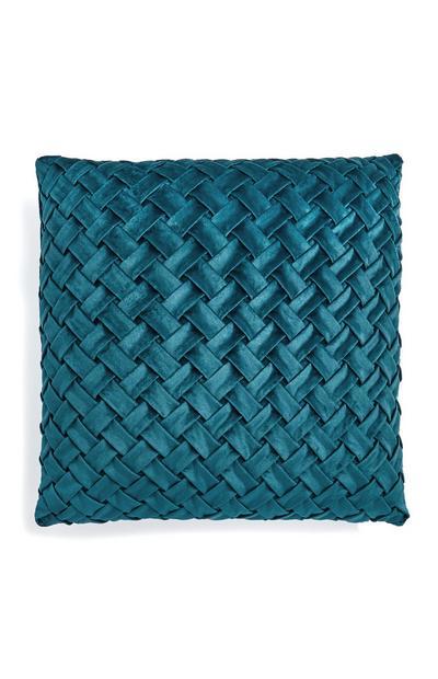 Cojín de terciopelo trenzado verde azulado