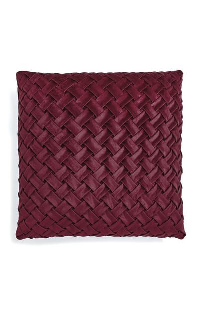 Burgundy Velvet Braided Cushion