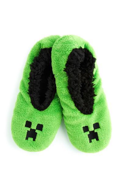 Minecraft-pantoffels, groen