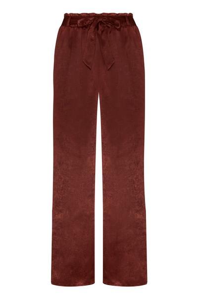 Pantalon marron en satin