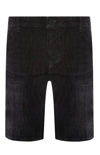 Short noir en denim stretch