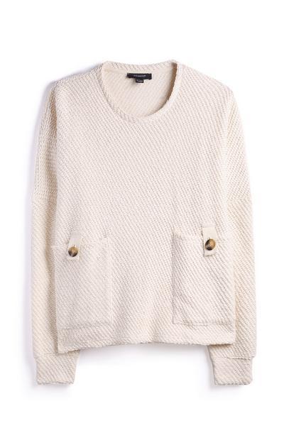 Ecrufarbener Pullover