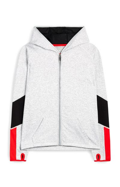 Older Girl Gray Color Block Hoodie