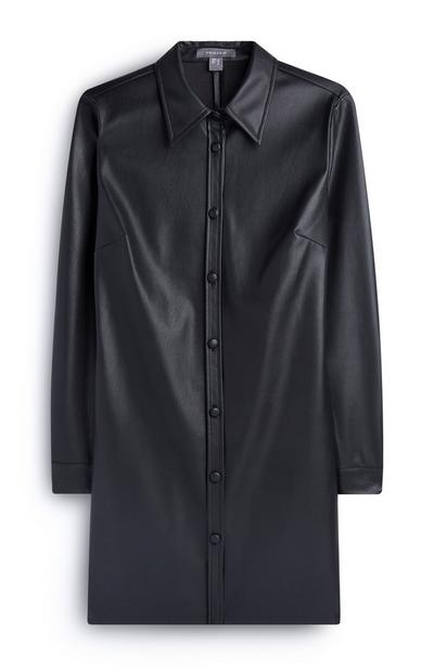 Zwarte overhemdjurk met print