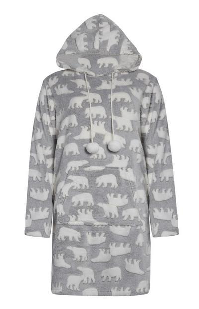 Siv zgornji del pižame s polarnim medvedom in kapuco