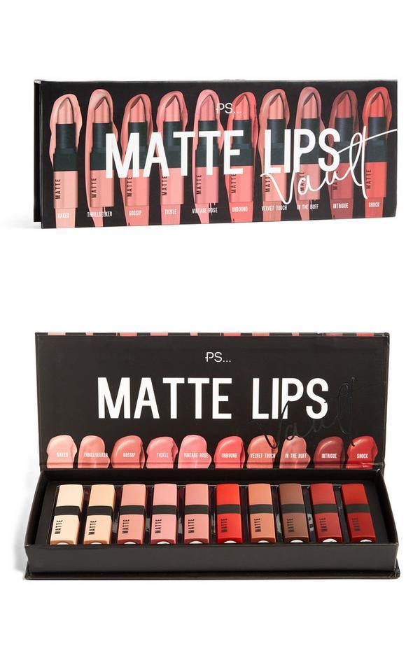 Matte lipstick Lustre Lips Vault, set van 10