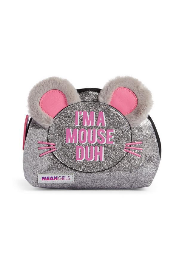 Bolsa maquilhagem rato brilhantes cor-de-rosa