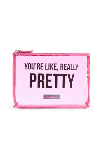 Prozorna rožnata torbica za ličila
