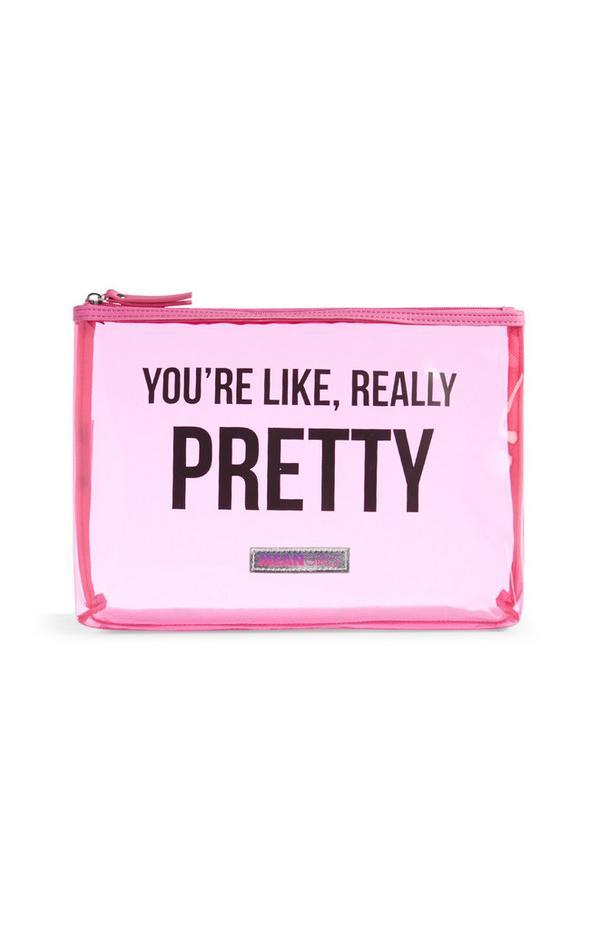 Bolsa maquilhagem rosa transparente