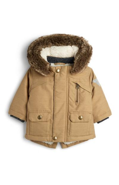 Baby Boy Stone Parka Hooded Coat With Faux Fur Trim