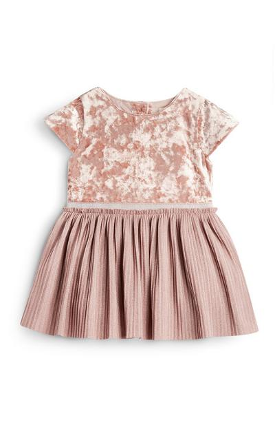 Roze fluwelen babyjurkje voor meisjes
