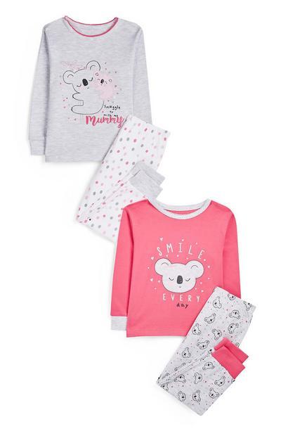 Pack 2 pijamas estampado coala cor-de-rosa menina bebé