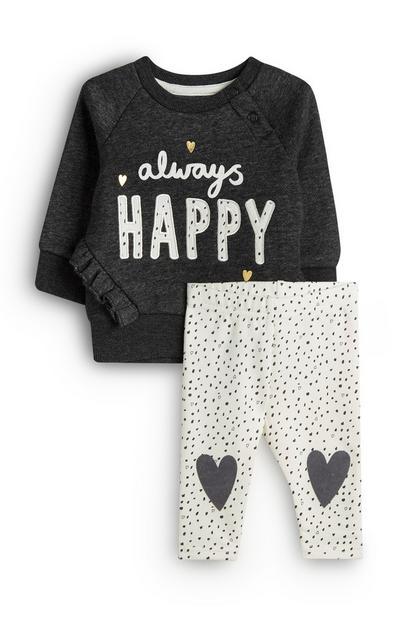 Donkergrijze babytrui en witte babylegging Always Happy voor meisjes