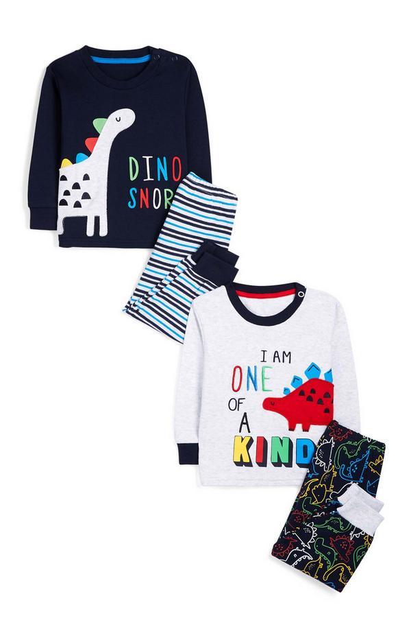 Baby Boy Navy Dinousaur Print Pyjama Set 2pk