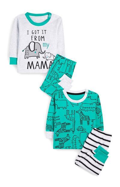 Pack 2 pijamas padrão animal verde menino bebé