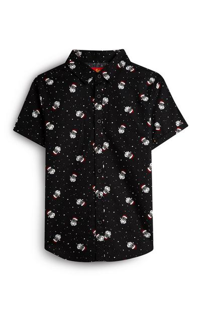 Older Boy Santa Claus Black Shirt
