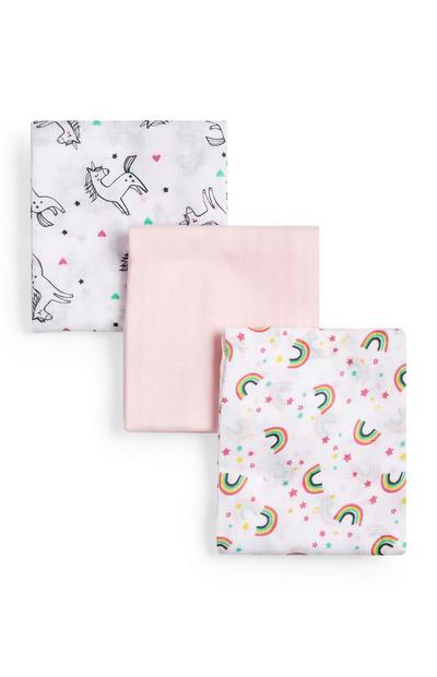 Musselin-Tücher mit Einhorn-Print für Neugeborene (M), 3er-Pack