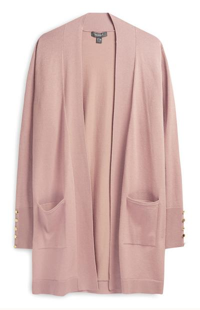 Light Pink Loose Cardigan with Pockets