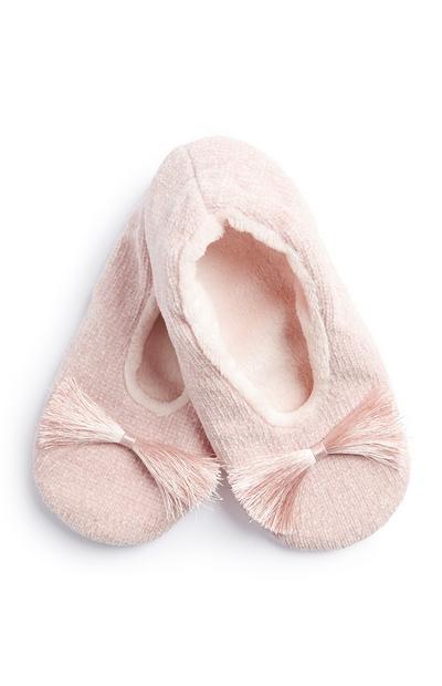 Pantufas berloques frente cor-de-rosa