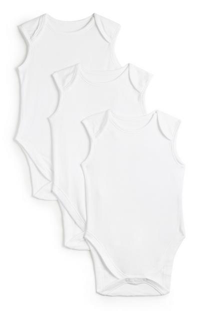 Pack de 3 bodis básicos sin mangas en color blanco para recién nacido
