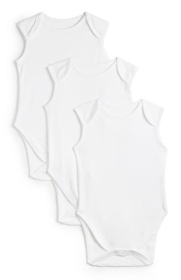 Newborn Baby Basic White Sleeveless Bodysuit 3pk