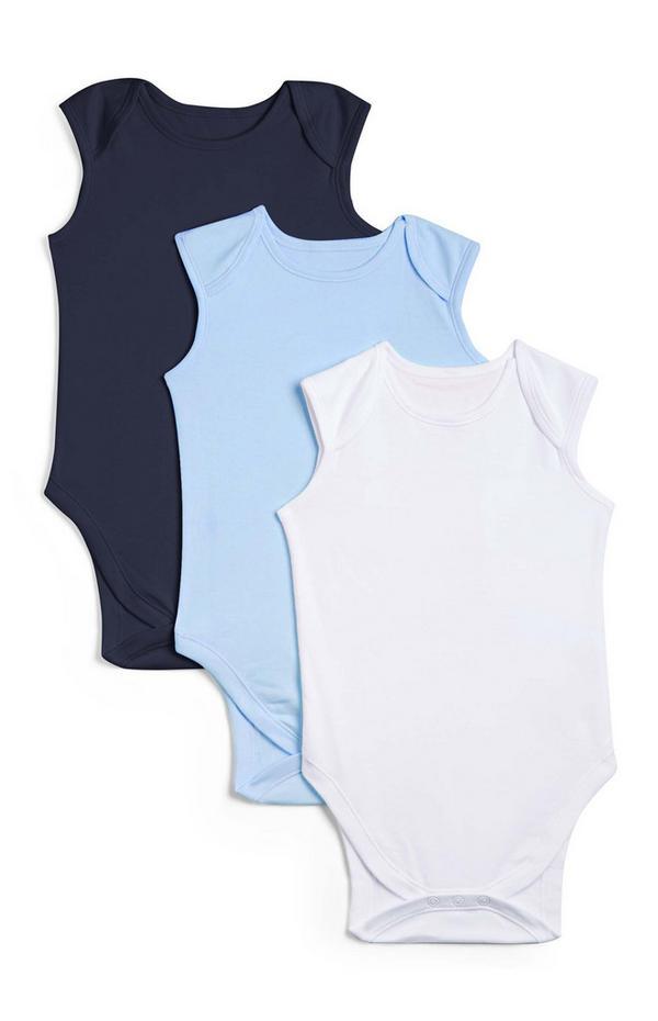 Newborn Baby Blue Sleeveless Bodysuit 3pk