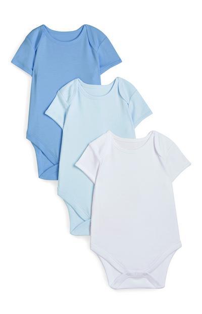 Pack 3 body manga curta azul-bebé recém-nascido