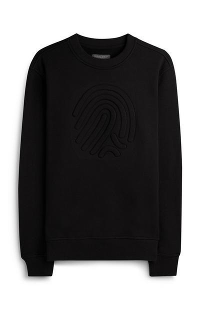 Črn pulover z reliefom v obliki prstnega odtisa in okroglim ovratnikom