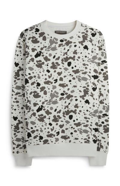 Bel pulover z leopardjim potiskom in okroglim ovratnikom