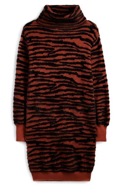 Vestido camisola padrão tigre