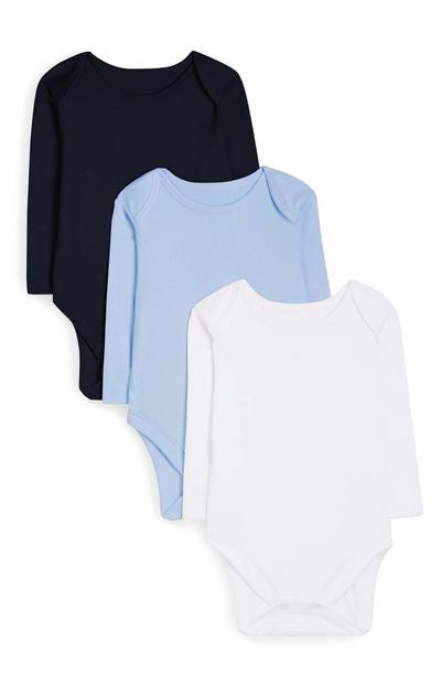 Newborn Baby Blue Long Sleeve Bodysuit 3pk
