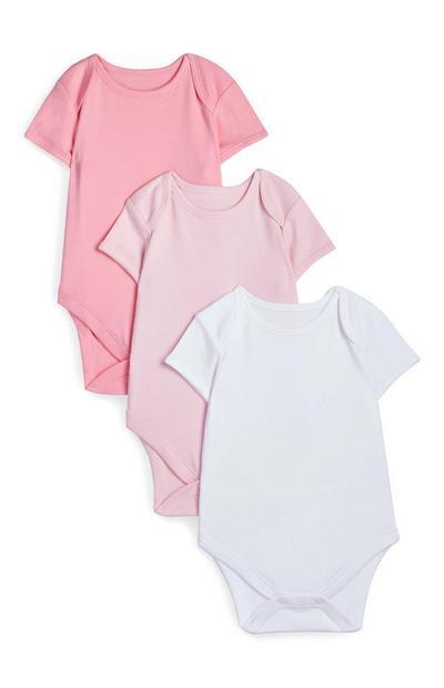 Pack 3 body manga curta cor-de-rosa recém-nascido