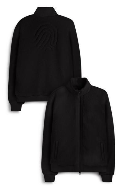 Black Embossed Finger Print Fleece