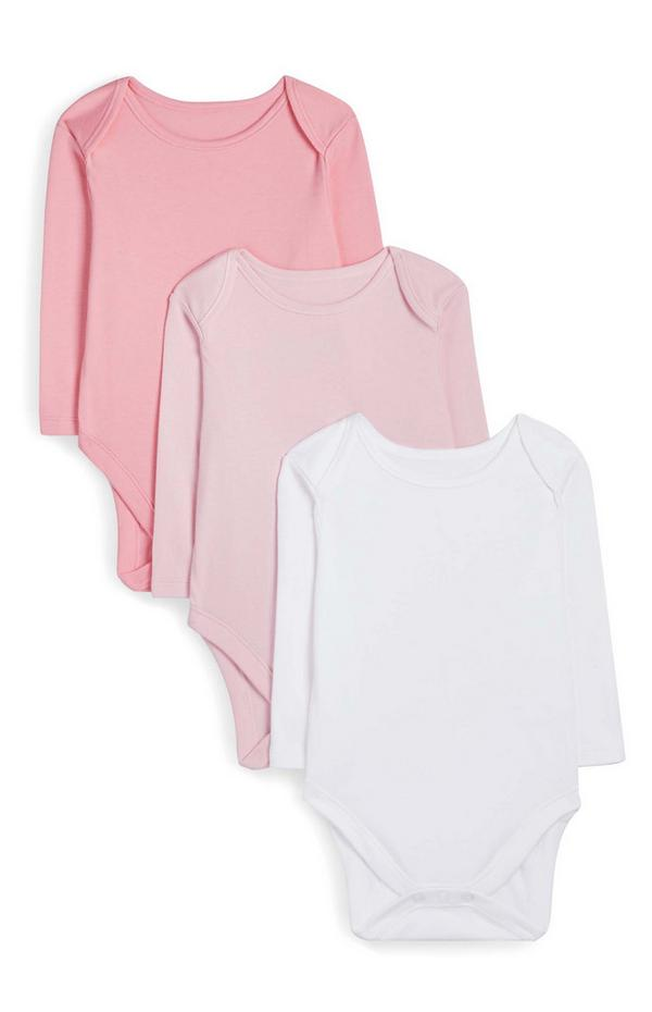 Pack de 3 bodis de manga larga en color rosa para recién nacido