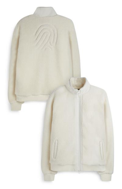 White Embossed Finger Print Zip Up Fleece