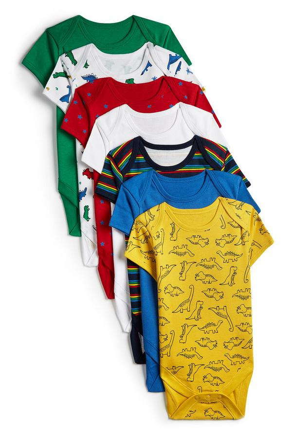 Baby Boy Dinosaur Print Short Sleeve Bodysuit 7pk